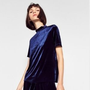 NWT Zara Blue Velvet Mockneck Top